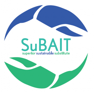 blue and green logo with the text SuBAIT and superior sustainable substitute