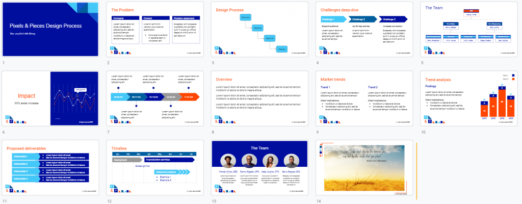 a collage of different slides with the same colour theme